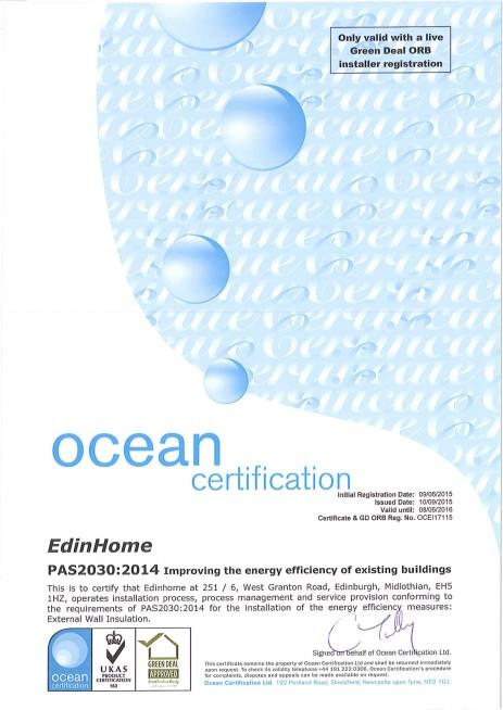PAS2030 Certificate - EdinHome - ref OCEI17115